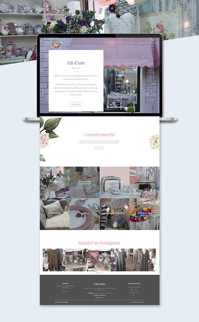 Fili D'Arte – sito web custom attività commerciale