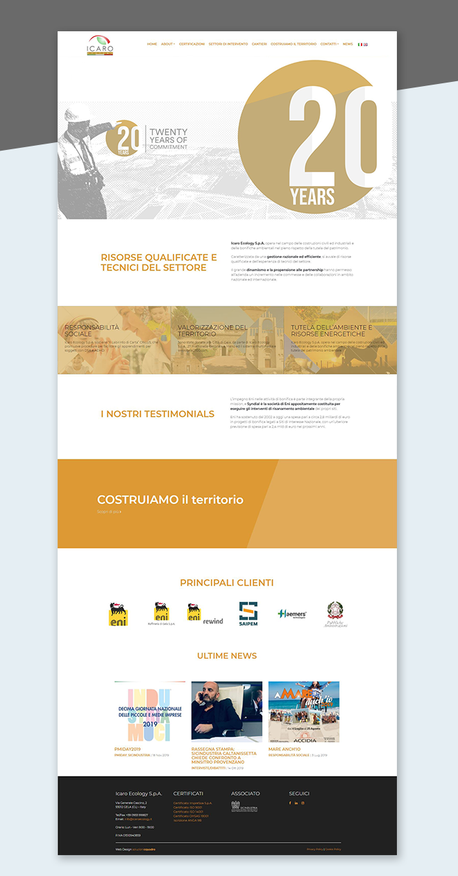 Icaro Ecology – Restyling Sito Web aziendale