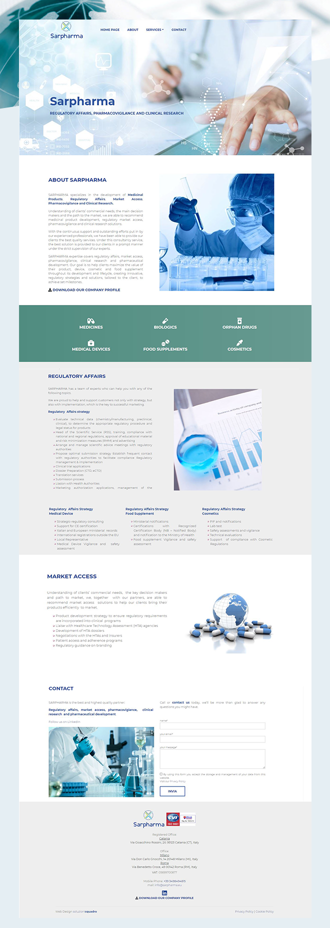 SARPHARMA – tema custom one page